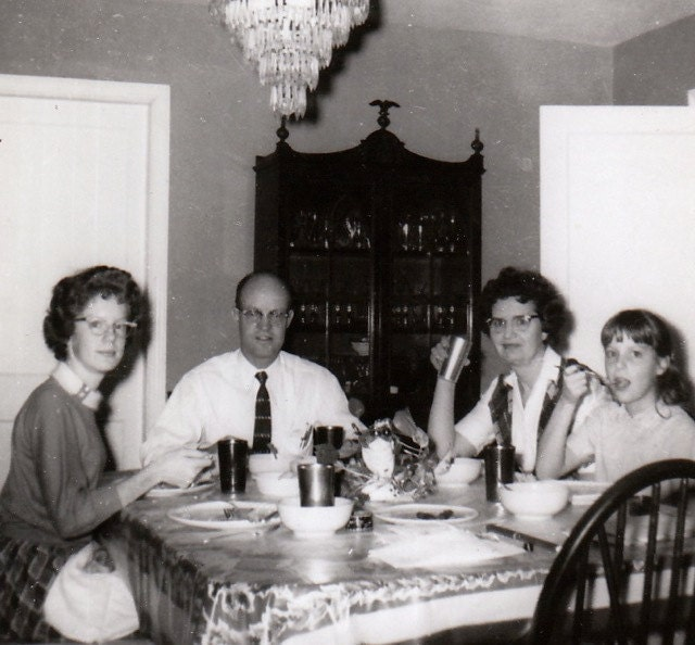 Family at the Dinner Table- 1950s Vintage Photograph