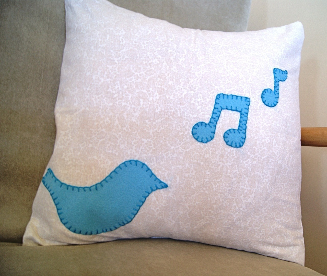 Bluebird Singing Pillow Cover, 16 by 16 inch by newleafhandmade on Etsy