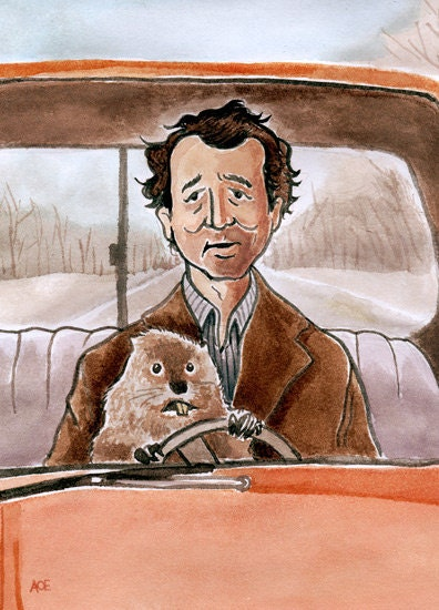 "Bill Murray as Phil Connors in ""Groundhog Day"" watercolor - 5""x7"" Postcard Print - andyrama"