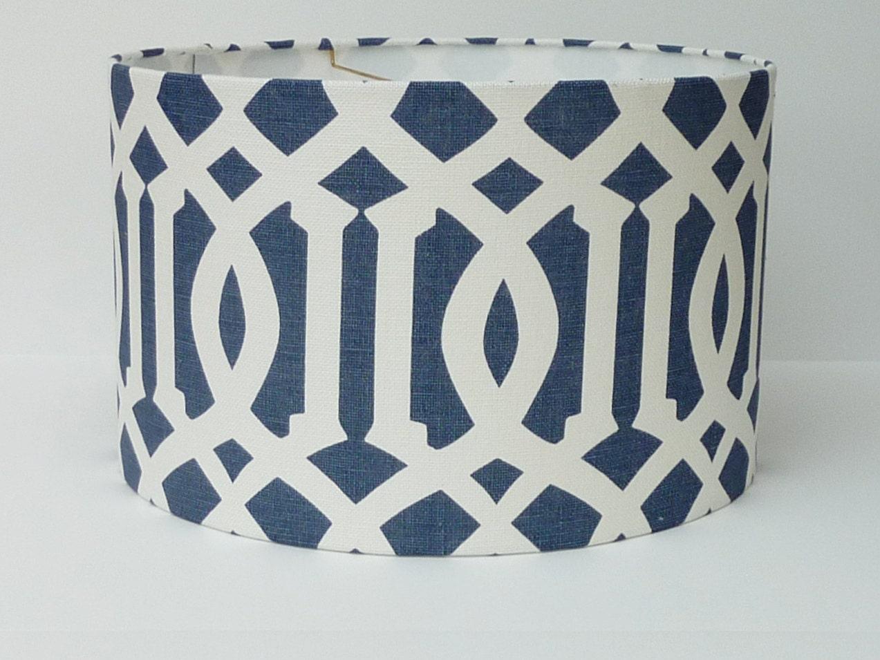 Custom Drum Lampshade in Schumacher Imperial Trellis fabric in Navy