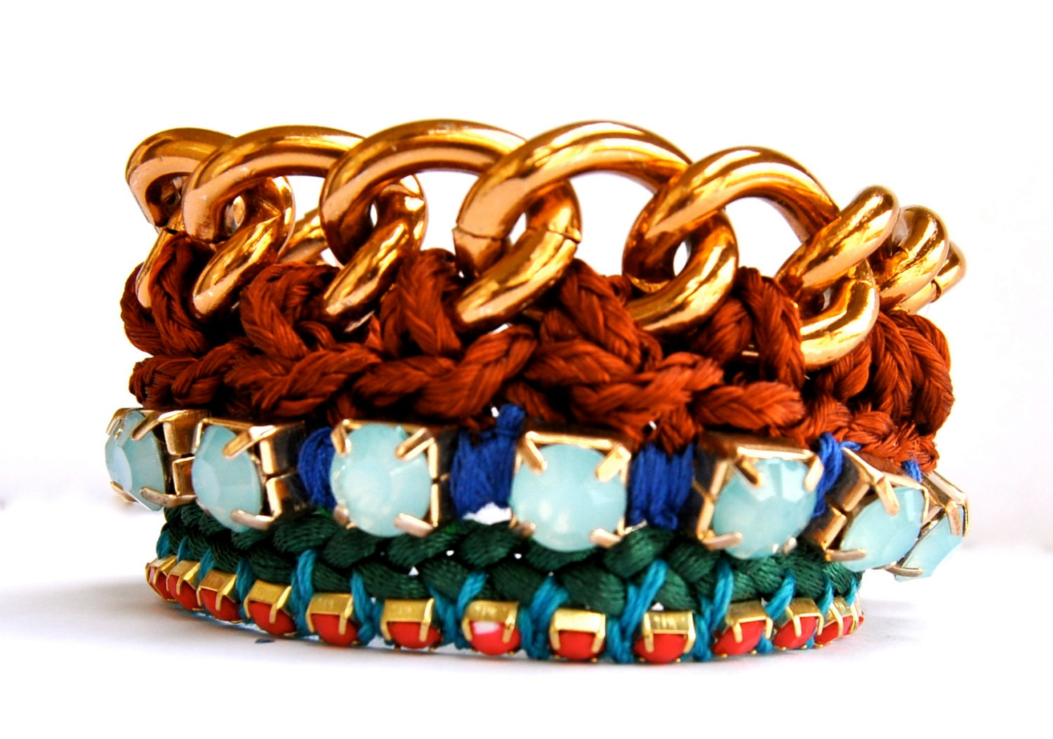 Friendship maxi bracelet- Boho style made with brown, blue , turquoise and green cotton and azure blue and red stone.