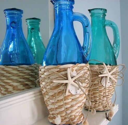 Пляж Декор Shell Ваза - Морской Декор морской травы Бутылка со Starfish & Корпуса, синий