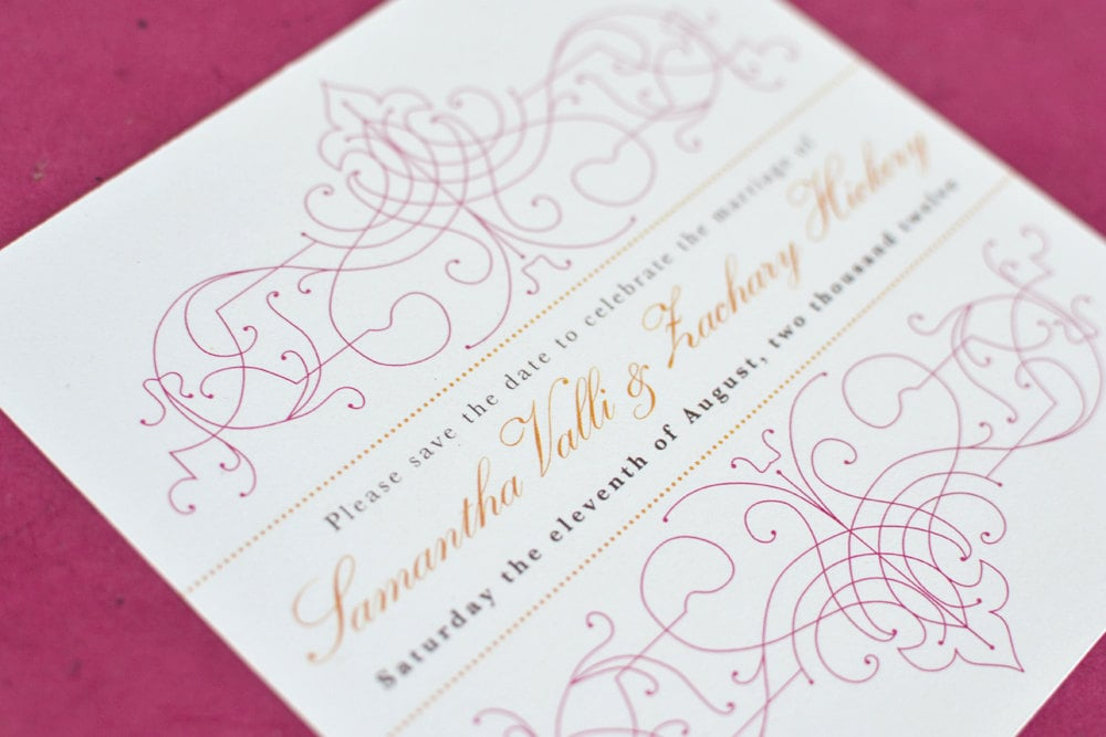 Wedding Save the Date Card : Citrus Vintage Bohemian with pink and orange - PlumetotheWind