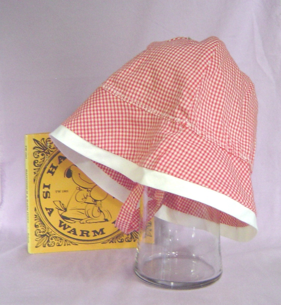 Summer hat childs red and white gingham 4 hats in 1 - AccessoriesByKelli