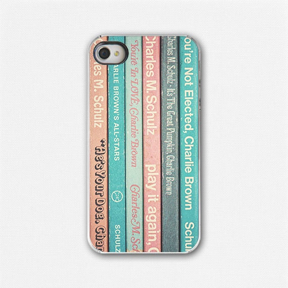 Vintage Books iPhone 4 Case, iPhone 4 Cover, Retro, 60s, Charlie Brown Books, Childhood, Nostalgic. Teal, orange, blue. - LisaRussoFineArt