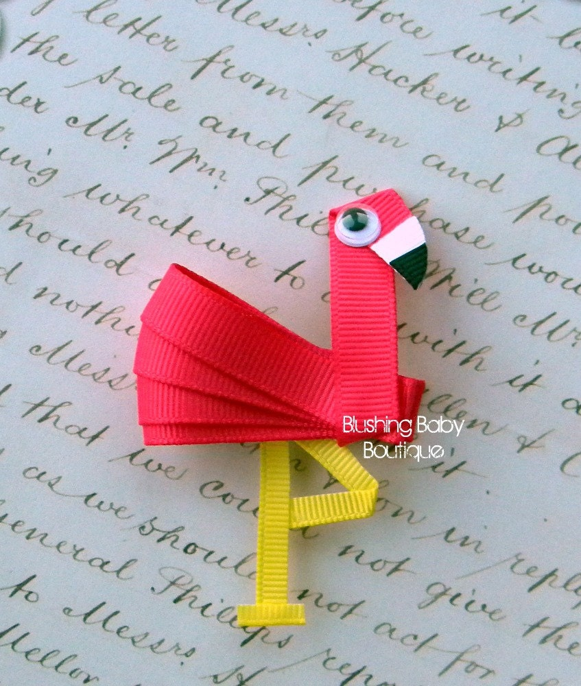Hot Pink Flamingo Hair Clip-- Perfect for Spring-- Birthdays and Baby Showers