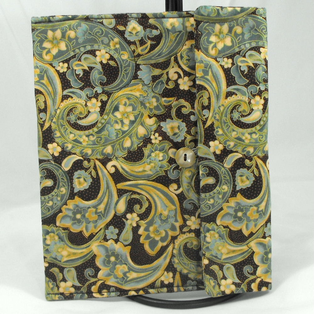 Quilted Cotton iPad 3 Cover, iPad 2 Case, iPad Cover, iPad Case - Paisley Print - ByAThreadVt