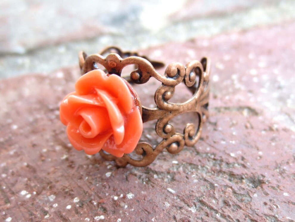 Coral Rose Antique Bronze Filigree Ring