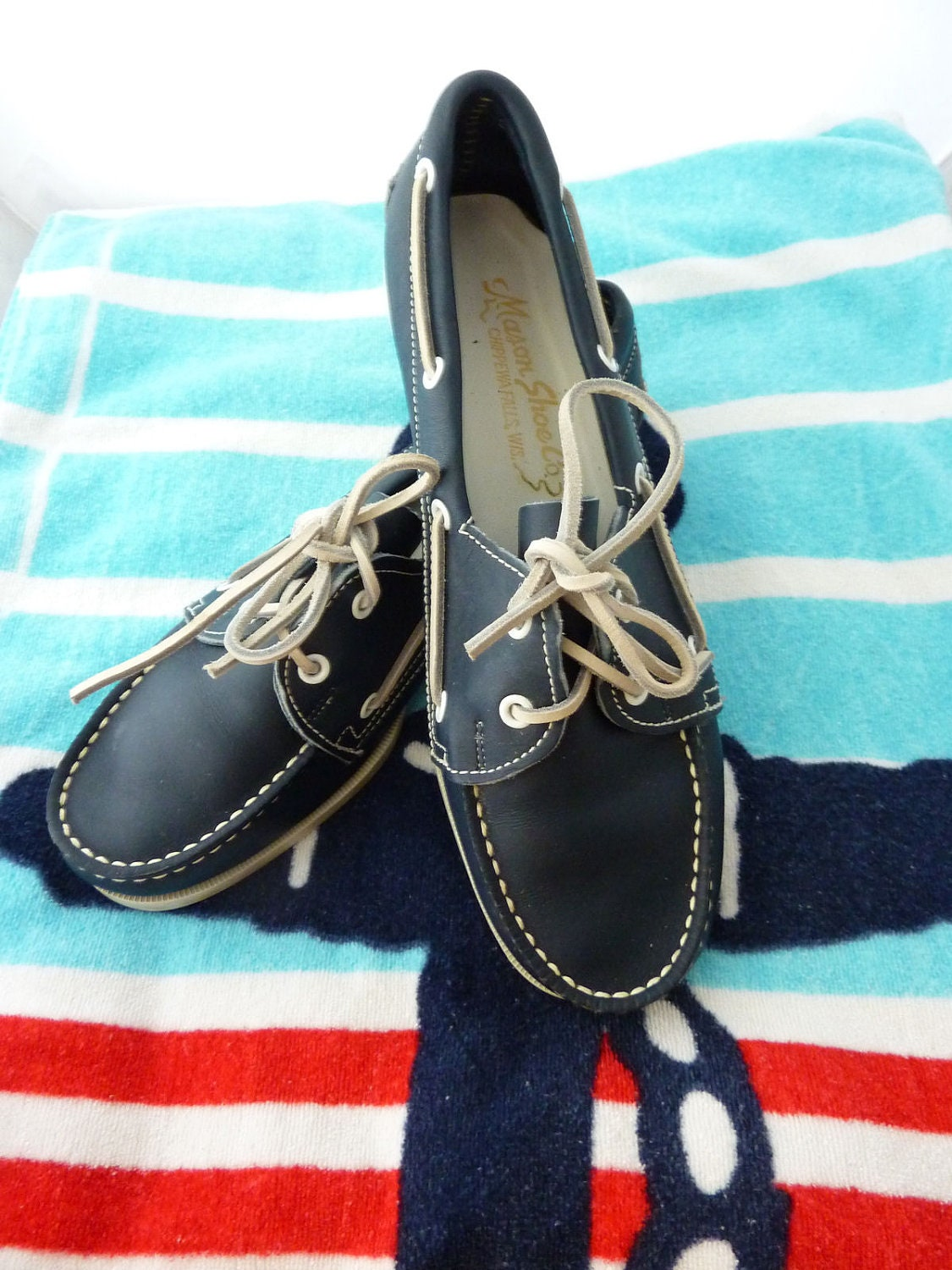 Vintage Leather Boat Shoes, Mason Shoe Co, Chippewa Falls WI