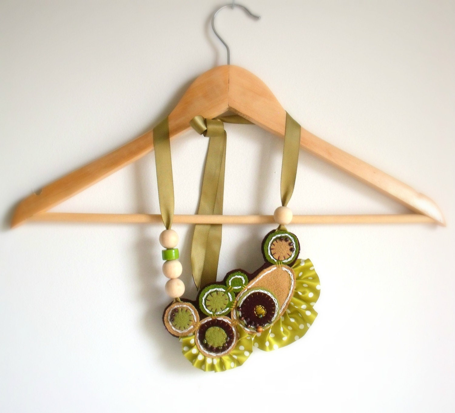 Felt Statement Necklace / Handmade Embroidered Bib Necklace / Lime Green Ruffled Necklace /  Recycled Beaded Necklace - ThePennyRunner