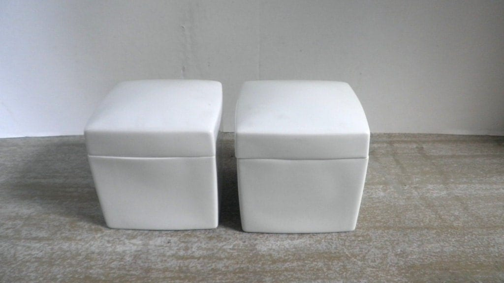 Pair Square White French Limoges Canisters With Lids - shop20max
