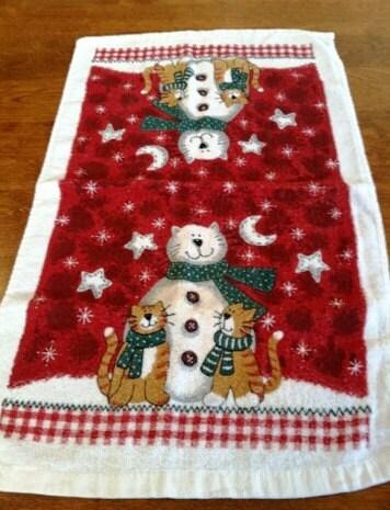 AdorableVintage Snowcat Snowman Christmas Hand Towel