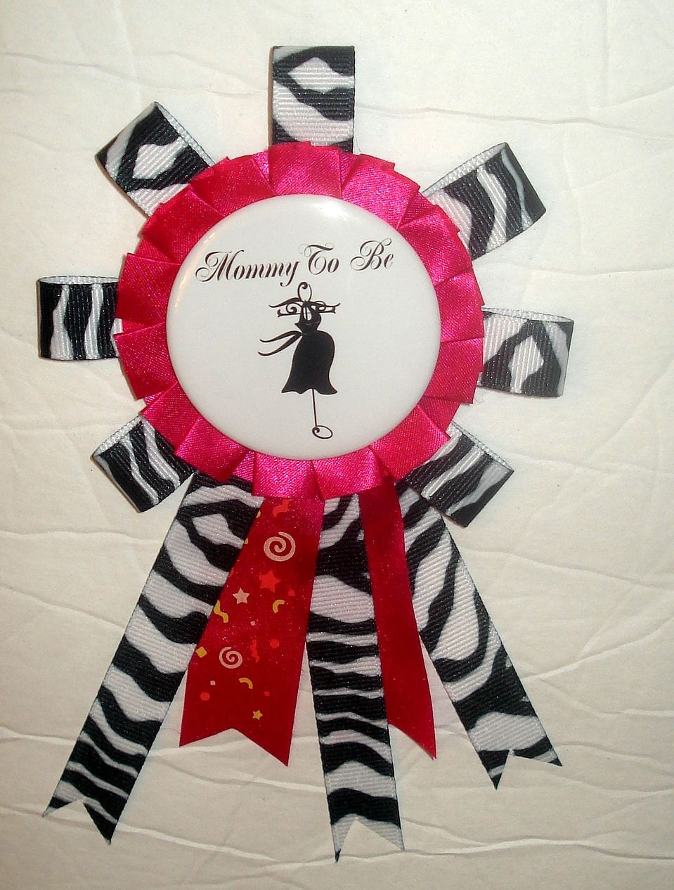 Zebra & Hot Pink Mommy To Be / Baby Shower Corsage Pin