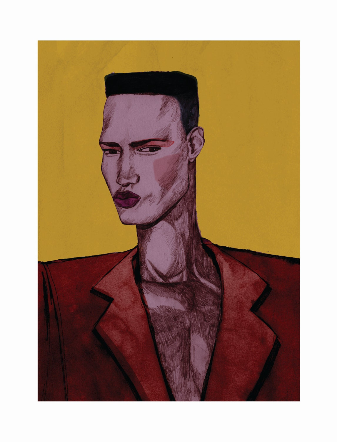 Large Grace Jones 'Androgyny'  Limited Edition  A3 Giclee Print by Bett Norris.