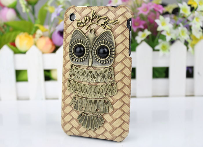 Bronze  owl And   Hard Case Cover for Apple iPhone 3 Case, iPhone 3gs Case, iPhone 3g Hard Case, iPhone Case c056