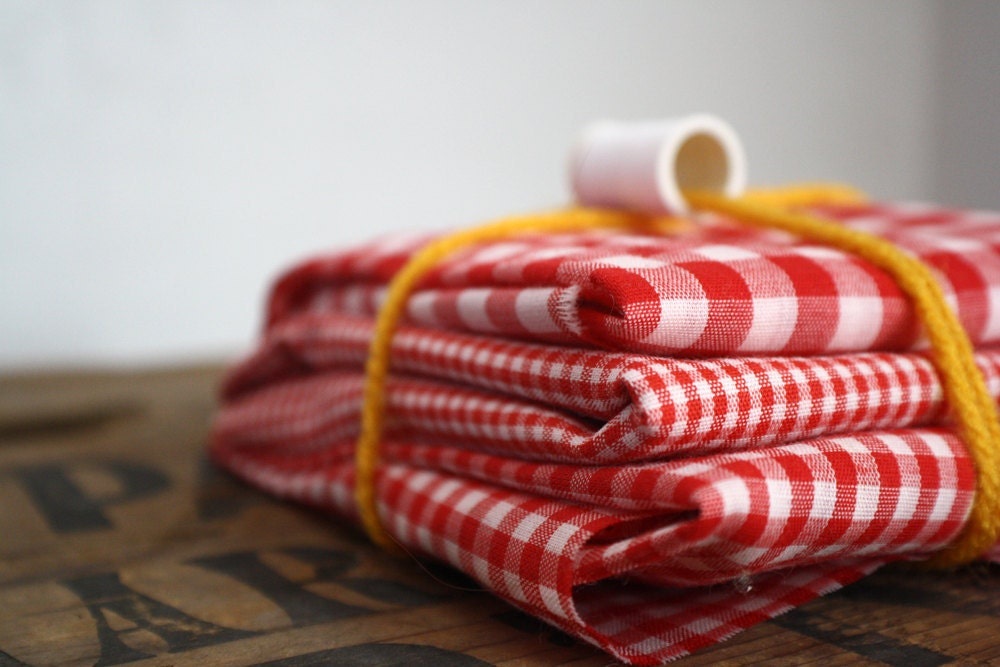 valentine red vintage gingham fat quarter trio - scrumdillydilly