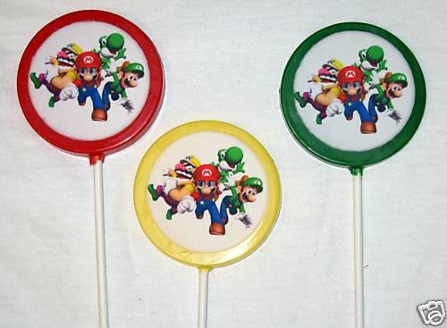 Super Mario Brothers chocolate lollipops party favors chocolate favors