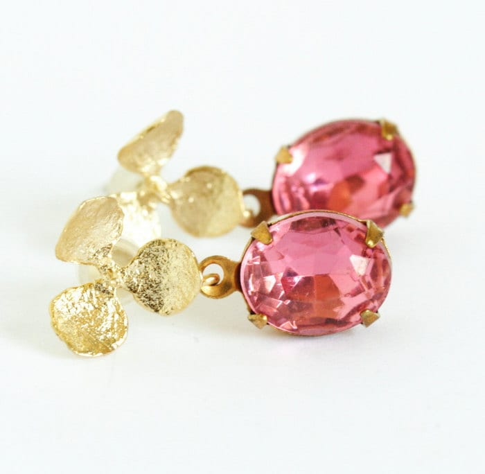 Pink Vintage Jewel Earrings With Gold Flower Posts - Perfect For The Bride