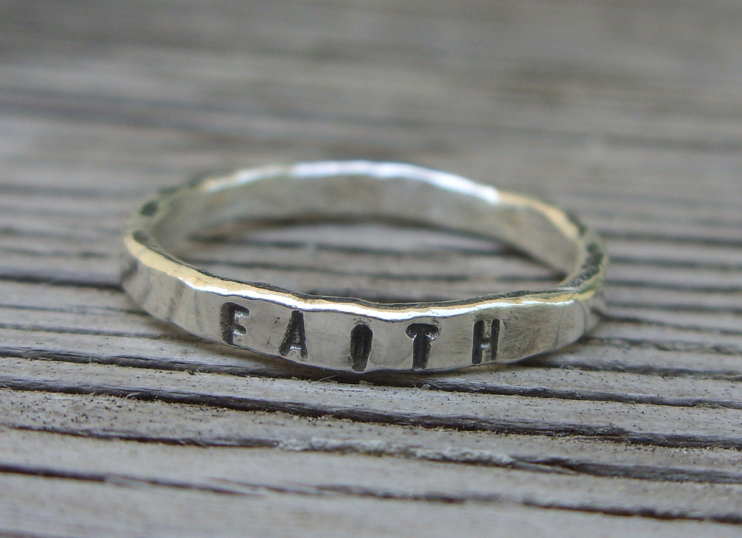 Fine silver hand stamped stacking ring FAITH - ready to ship- ONE ring handmade stacker ring