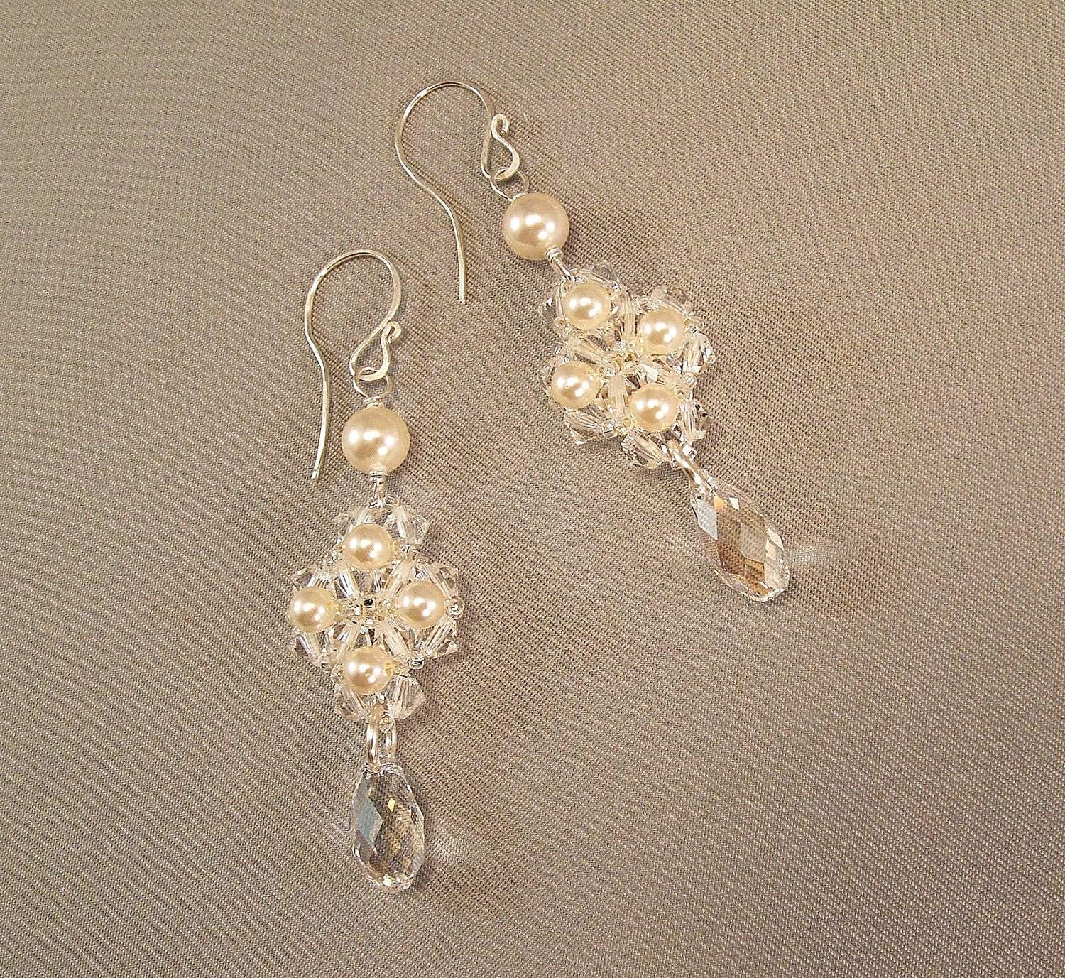 Regal Ivory Pearl and Crystal Wedding Earrings Ivory by Handwired from etsy.com