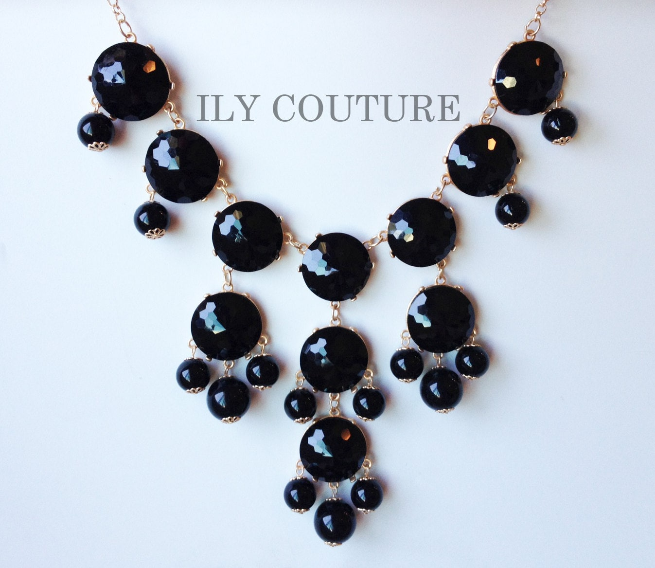 Black Bubble Statement Necklace similar to J. Crew style