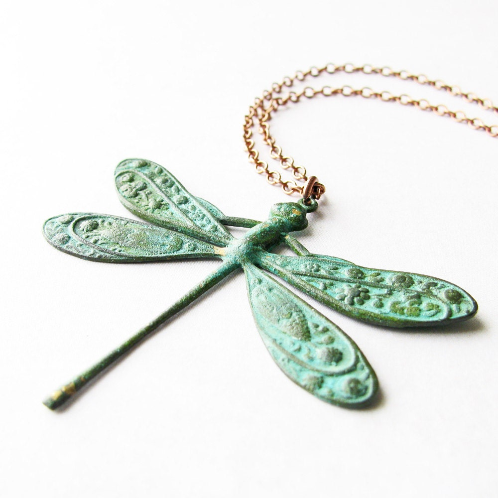 Green Dragonfly Necklace, Aged Patina Pendant, Antiqued Copper Chain - Dragonfly Jewelry, Insect Jewelry, Summer Jewelry - SimpleSquirrel