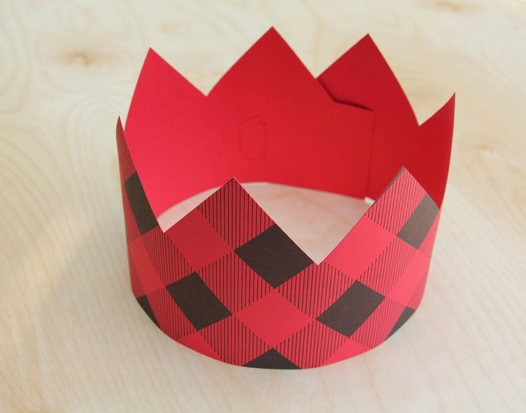Letterpress Red Plaid Party Crown - WishboneLetterpress