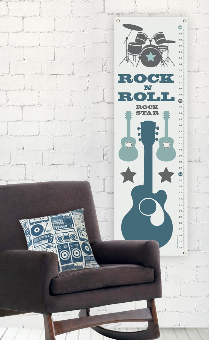 Rock N Roll - Modern Growth/Height Chart - Nursery Decor - giraffesnstuff