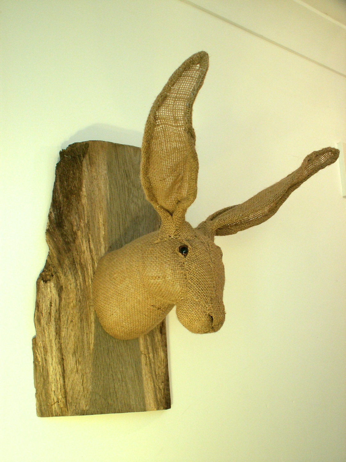 Hessian hare / animal textile sculpture. Vegetarian wall hanging. Trophy. Harmless hunting. MADE TO ORDER