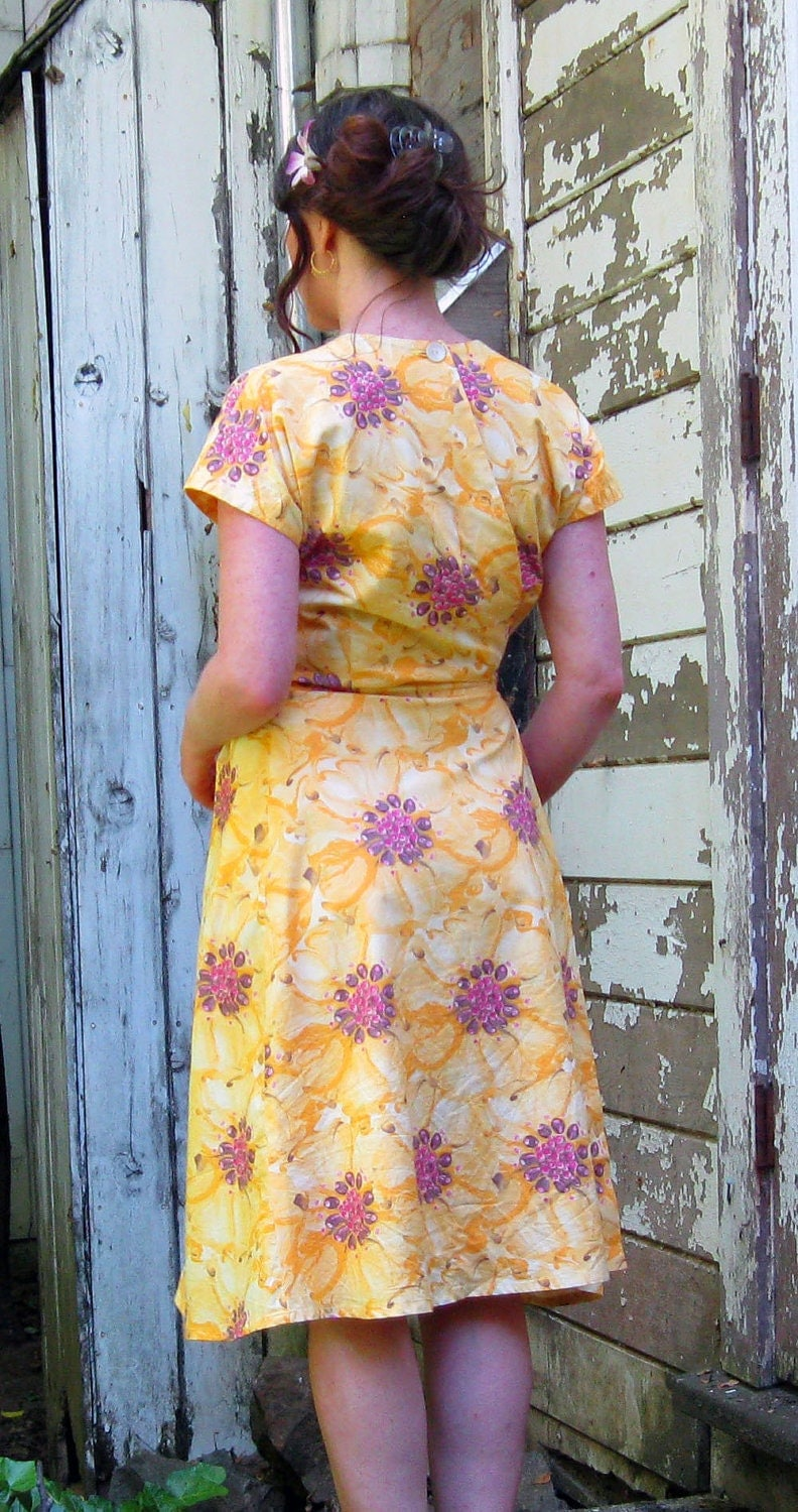 Wrap around dress Handmade by Brightest Star perfect Cotton sun dress M/LYellow with Pink Poppies