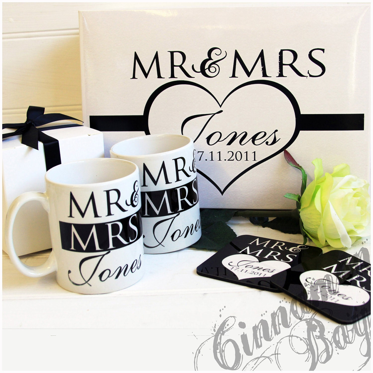 Mr and Mrs Mug and Coaster Gift Set with Personalised Gift Box