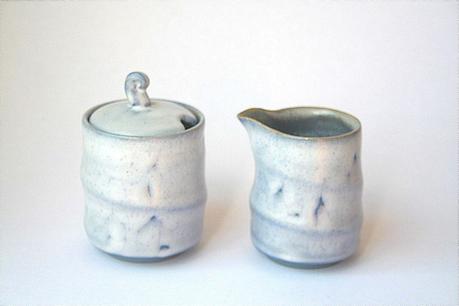 Cream and Sugar set - wheel thrown blue and white stoneware - DMPottery