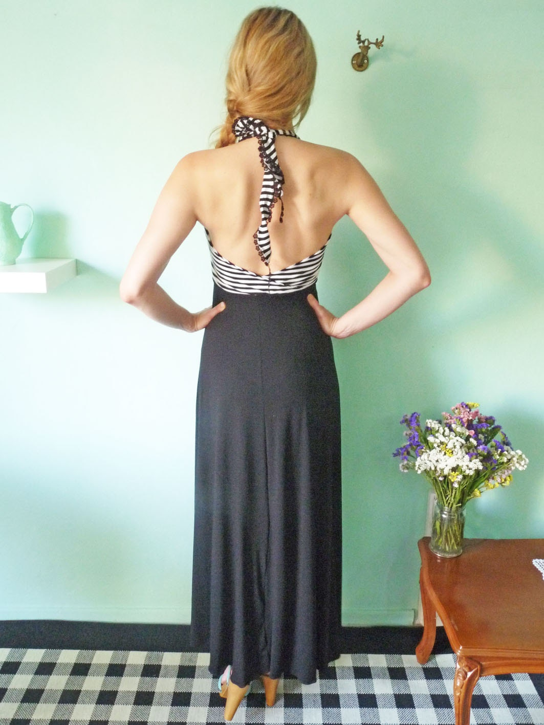 Maxi backless Dress// Black and White striped top part - chrystalshop