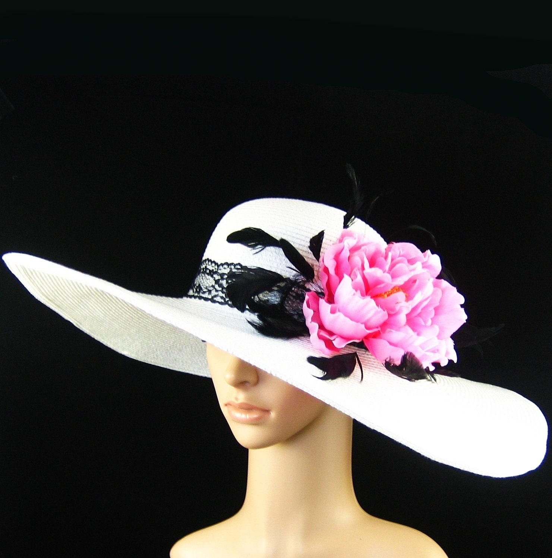 Derby Hat Dress Hat Wide Brim Hat Fashion Sun Hat ...Wedding Tea Party Ascot Church Kentucky Derby WHITE - theoriginaltree