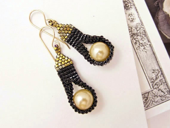 Cleopatra Tassel Earrings with Pearls by JeannieRichard
