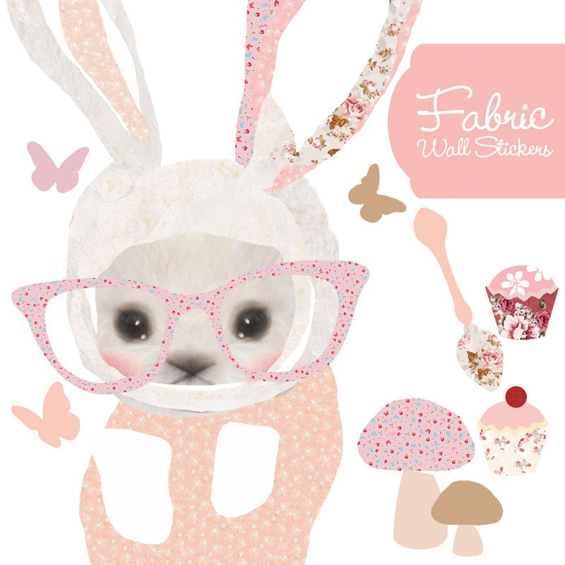 Girls Fabric Decal Wall Stickers - Bunny with Glasses
