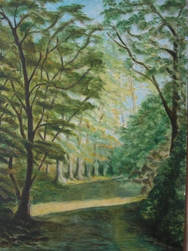 TREASURY ITEM Vintage art, Forest Glade France, Stanley Jackson, Ireland, original oil painting, landscape painting, made in Ireland - TheIrishGallery