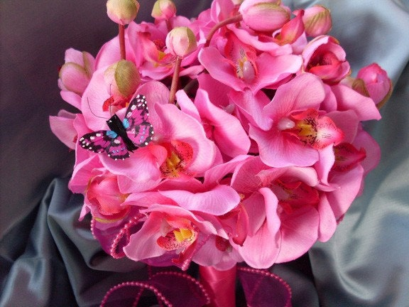 Fushia Silk Orchid Bouquet - AriesA