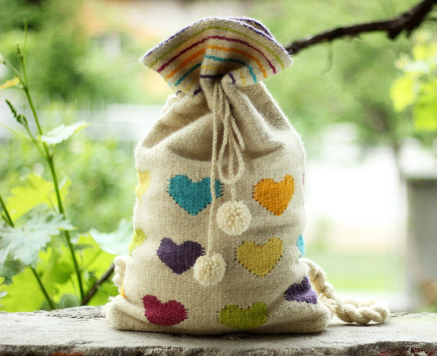 White Hand-woven Backpack With Color Hearts - Wool Backpack - Handmade Backpack - TheColorfulLoom