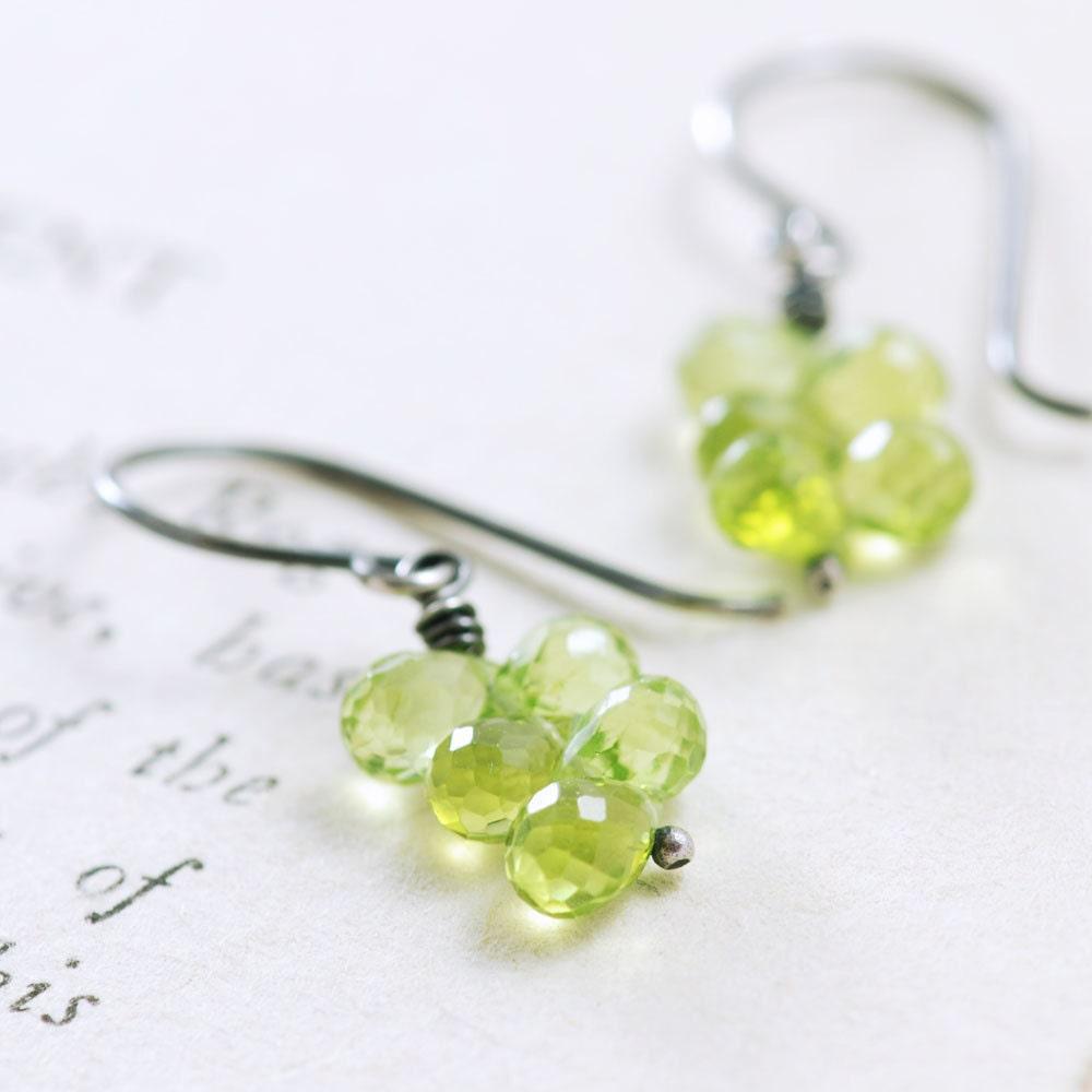 Peridot Earrings in Sterling Silver, August Birthstone, Green Gemstone Dangle Earrings, aubepine - aubepine