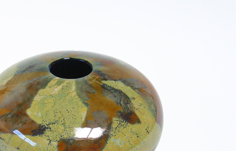 Blown Glass Vase Home Decor Round Sphere Earthy Green Brown Beige Woodland Minimalist Art - AvolieGlass