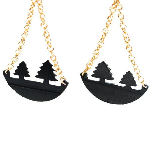 Eco friendly Tree Earrings, 14K gold plated pine tree jewelry by PearlReef on UpcycleFever