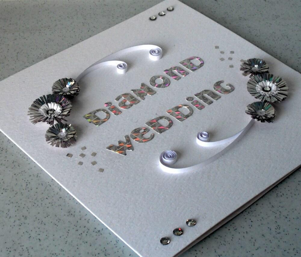 Шестидесятой карты юбилей, покрытый перьями, ручная работа бриллиантовую свадьбу бумаги рюш поздравления