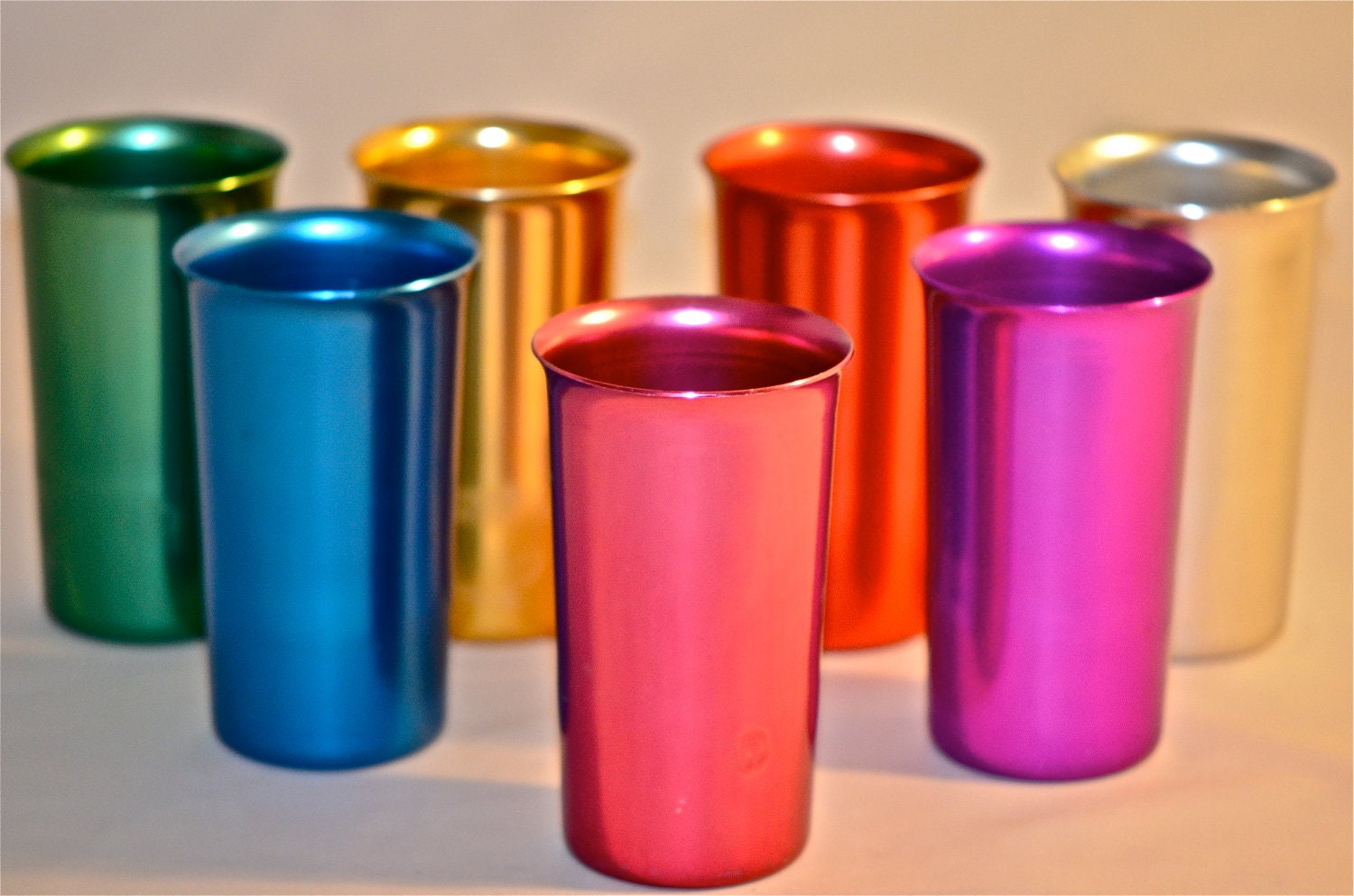 Mid Century Modern SUNBURST Atomic Colored Aluminum Tumblers in Bright Bold & Beautiful Anodized Colors
