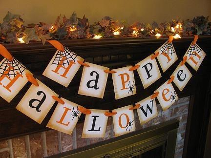 Happy Halloween Black and Orange Banner Spider Garland Great Photo Prop Sign
