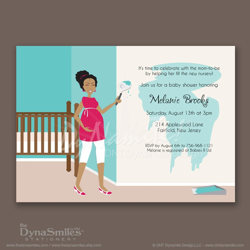 Mom Painting Nursery - Baby Shower Invitation - Curly/Natural Hair