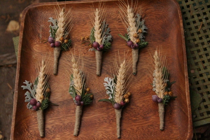 Wheat boutonniere. Wheat and berries, rosemary, flax, dusty miller and lambs ear.