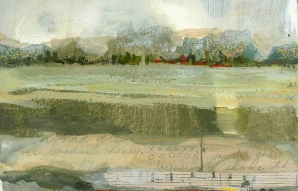 Mixed Media Artwork Landscape Print Artwork Sales Gray Green, Blue - dianamulder