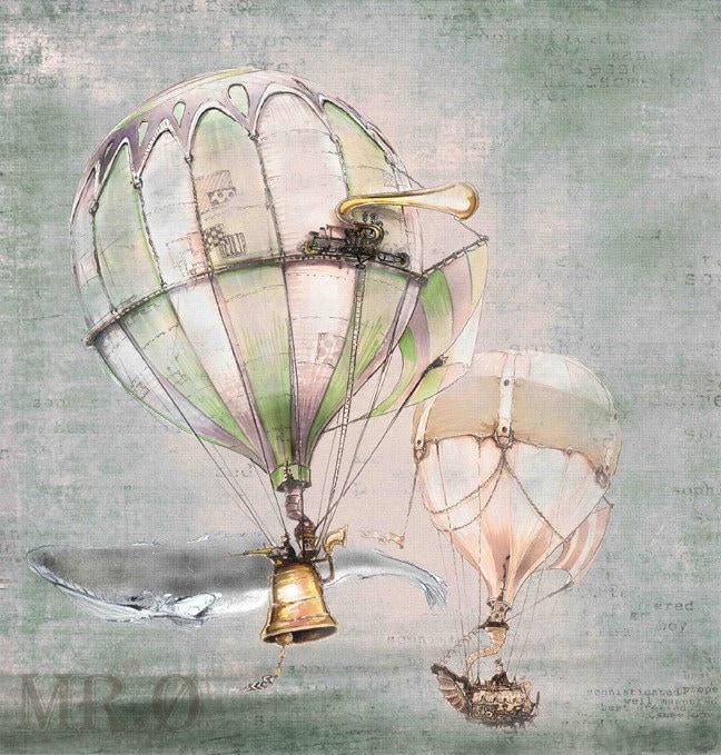 Steampunk Hot Air Balloon Print by theFiligree