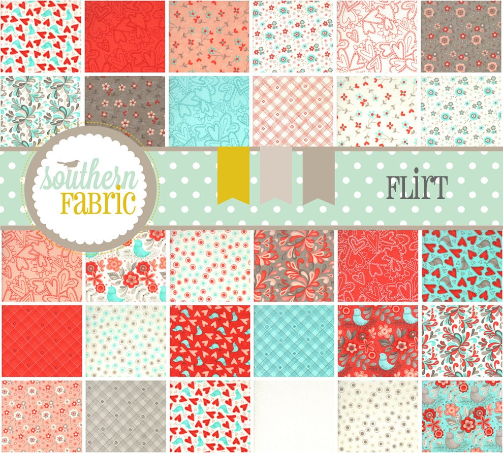 "Flirt  by Sandy Gervais --Charm pack 5""  Quilt Fabric Squares"